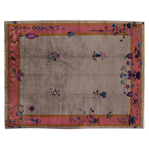 Antique Chinese Deco Rug, 9' x 11'6""