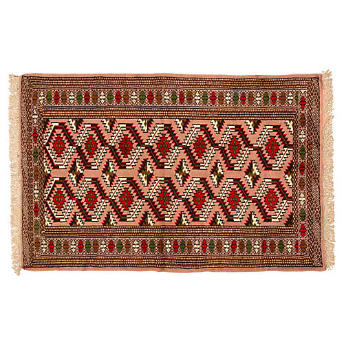 "Vintage Persian Rug, 4' x 6'3"""