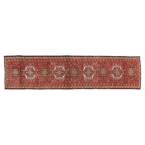 "Vintage Persian Heriz Rug, 3'4"" x 13'9"""
