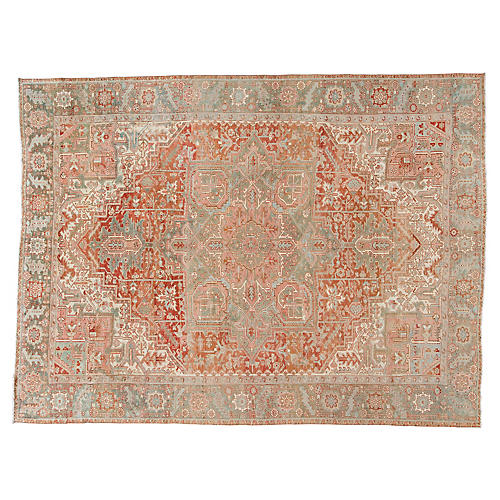 "Antique Persian Heriz Rug, 9'7"" x 12'8"""