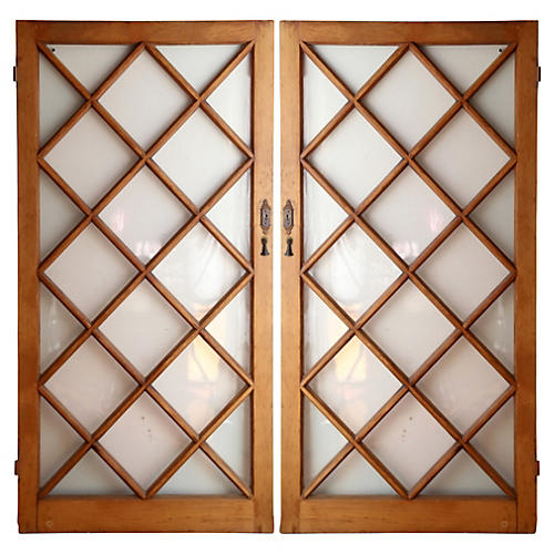 Pine Diamond Paneled Doors, S/2