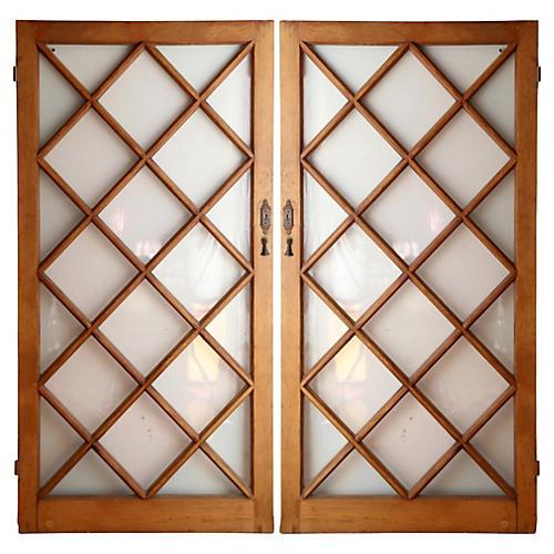 Pine Diamond Paneled Doors, S/2