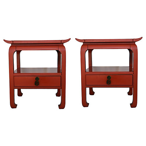 Kent Coffey Lacquered Tables, Pair