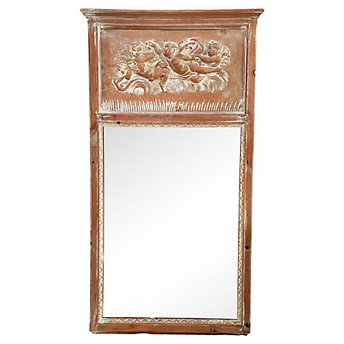 Antique Italian Pine Trumeau Mirror