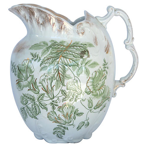 English Ironstone Transferware Pitcher
