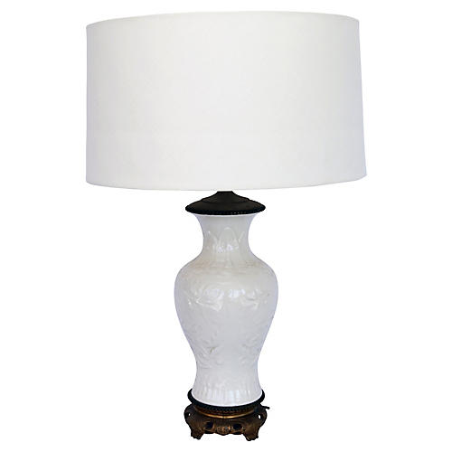 Blanc de Chine Lamp w/ Linen Shade