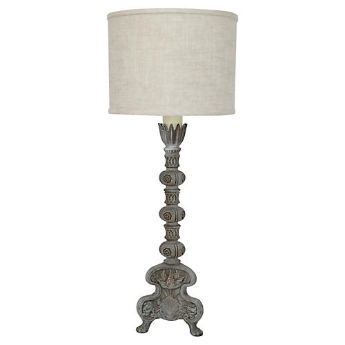 Hand-Painted Pillar Table Lamp