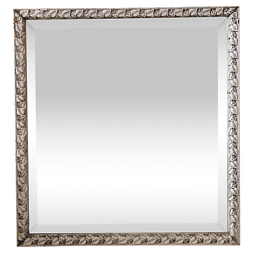 Beveled Mirror w/ Aged White Leaf Frame