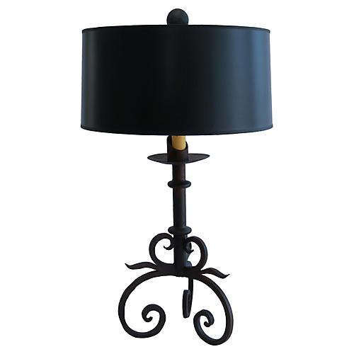 Rustic Hand-Forged Iron Table Lamp