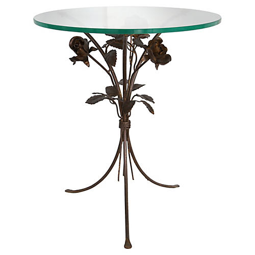 Iron Rose Bouquet Table w/ Glass Top