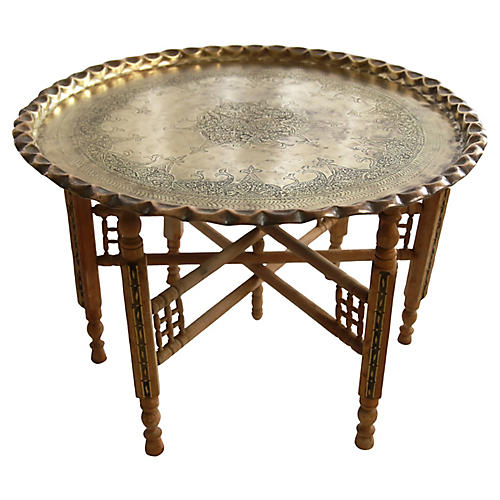 Moroccan Brass Tray Coffee Table