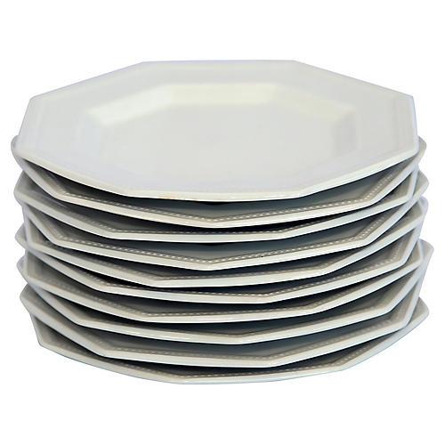 Octagonal English Ironstone Plates, S/10