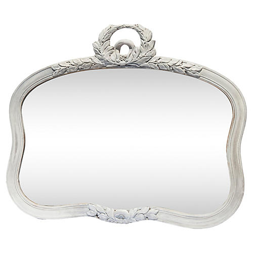 White Garland-Trimmed Mirror