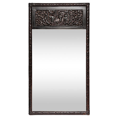Asian Carved Black Lacquered Mirror