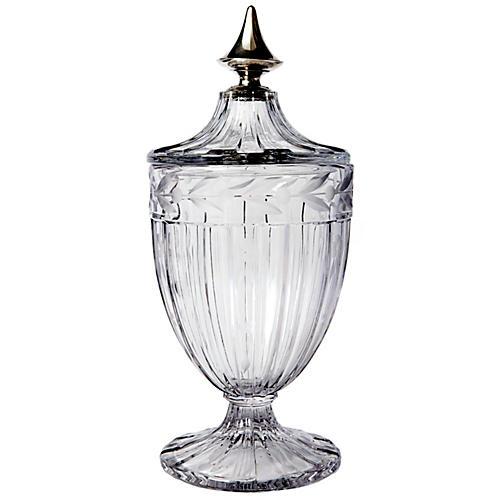 Antique Crystal Jardinere/ Sterling top