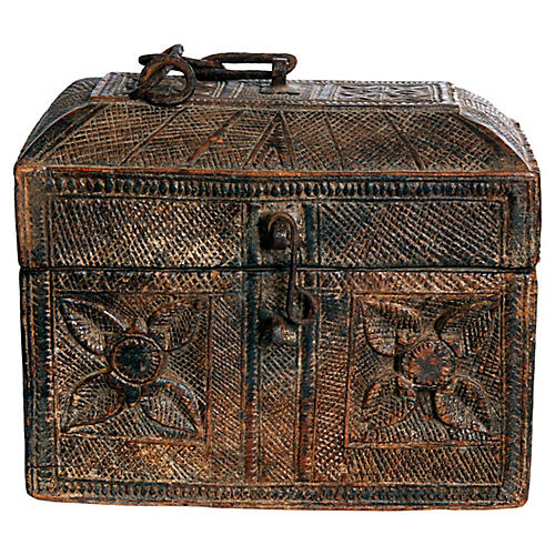 African Hand Carved Antique Box