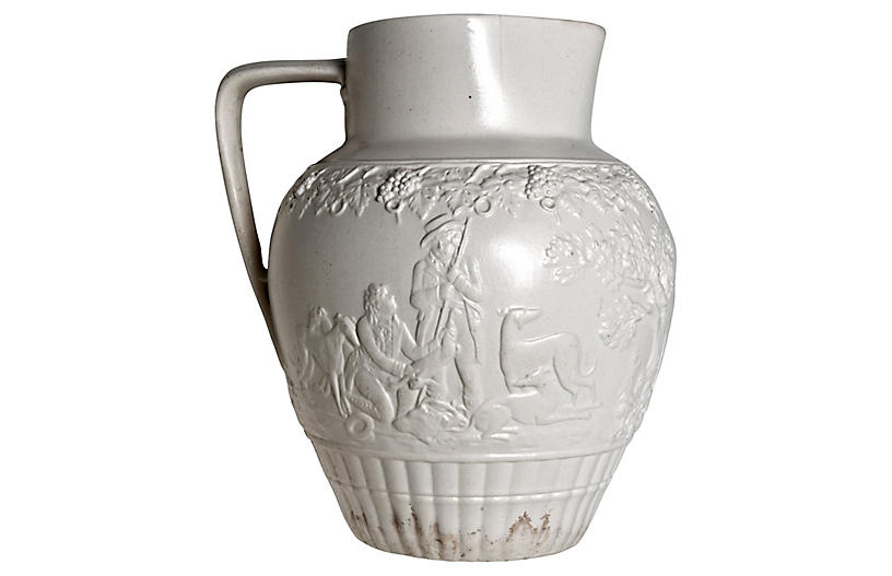 Antique English Salt-Glazed Pitcher