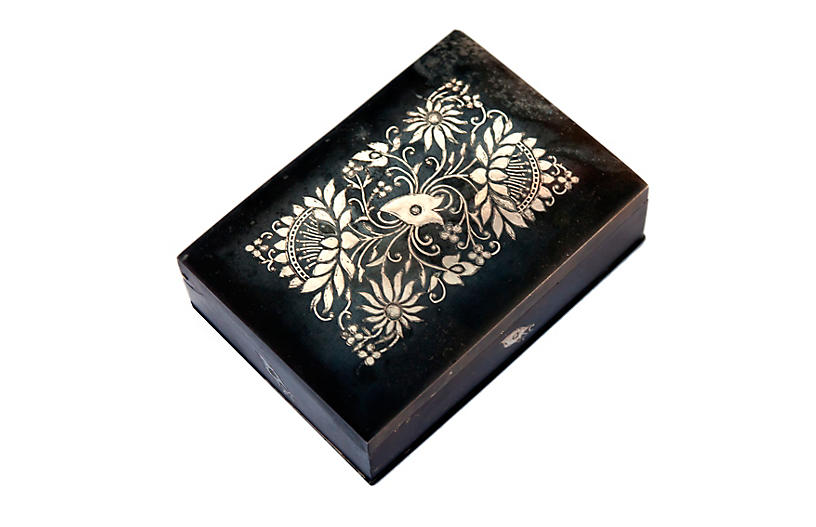 Antique India Pewter Box Sterling Inlaid
