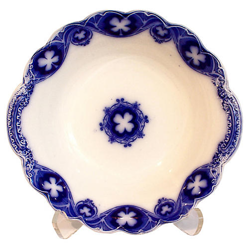 Antique Flow Blue Serving Bowl