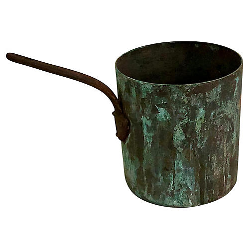 French Verdigris Copper Pot