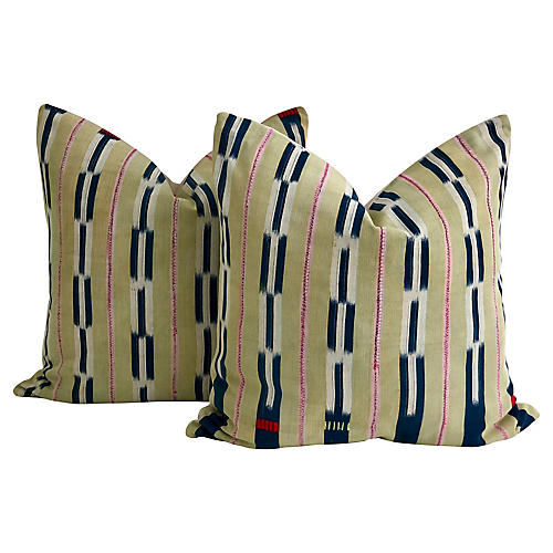 African Baule & Linen Pillows, Pair