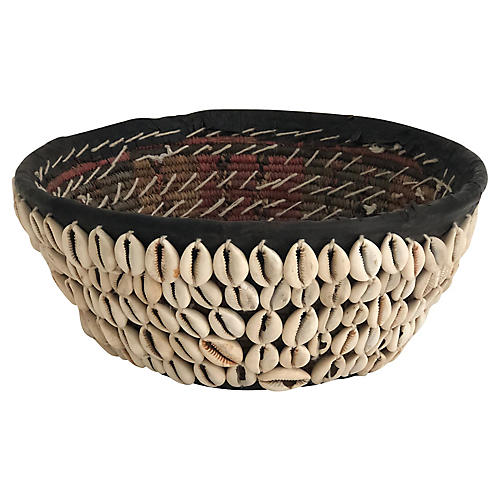 Antique Cowrie Shell Basket