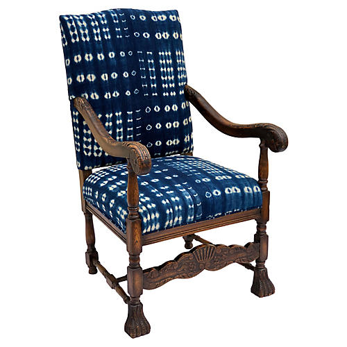 Antique French Oak & Indigo Armchair