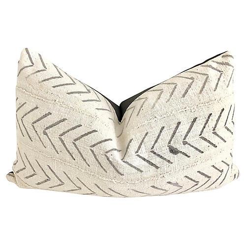 Mud-Cloth & Gray Linen Pillow