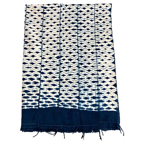 African Indigo Tie-Dyed Textile Throw