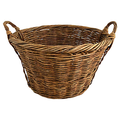 Large French Willow Basket W/Handles