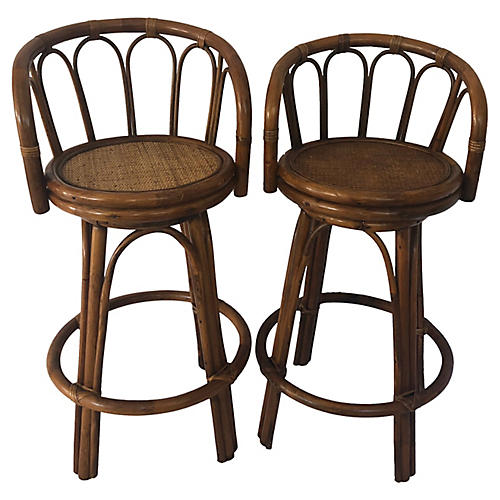 1960s Bamboo Swivel Barstools, Pair