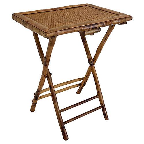 1950s Bamboo & Rattan Tray Table