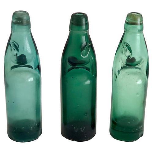 Codd-Neck Soda Bottles, S/3