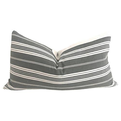 French Ticking & Linen Pillow 30x16