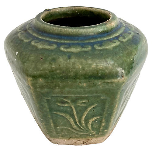Antique Chinese Green Glazed Ginger Jar