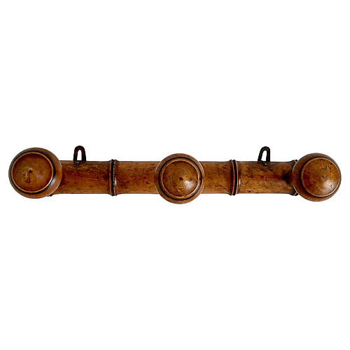 Antique French Faux-Bamboo Coat/Hat Rack
