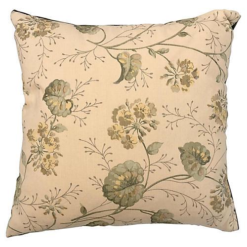 English Floral & Mohair Pillow