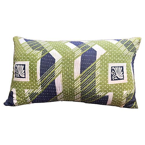 Geometric Kantha Lumbar Pillow
