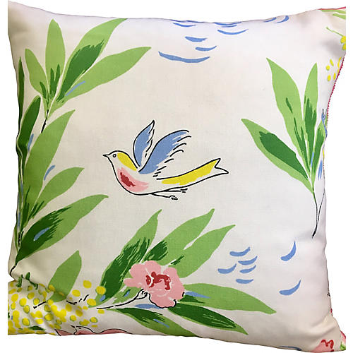 French Spring Bird Pillow