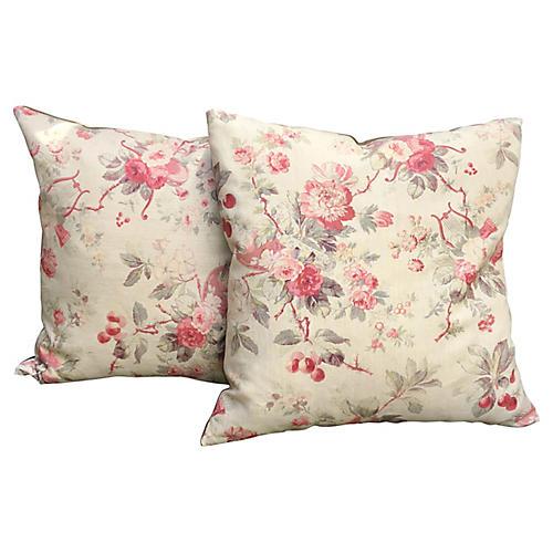 Salzburg Floral Linen Pillows, Pair