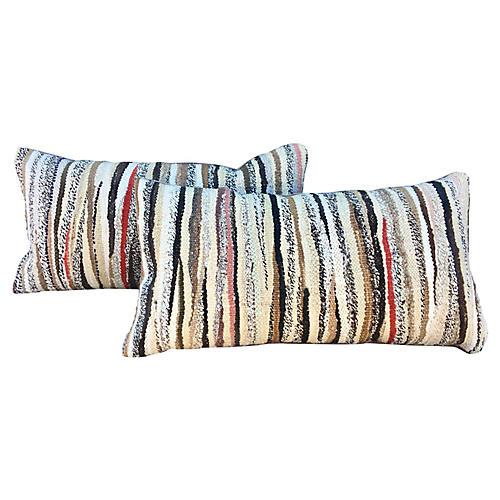 Dhurrie & Velvet Lumbar Pillow, Pair