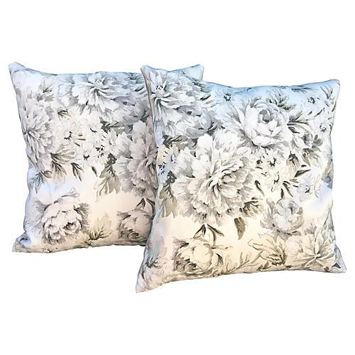 GS Blown Peonies Pillows, Pair