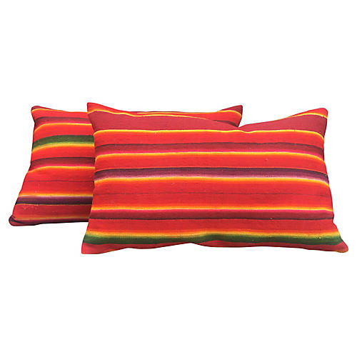 Authentic Serape Lumbar Pillows, Pair