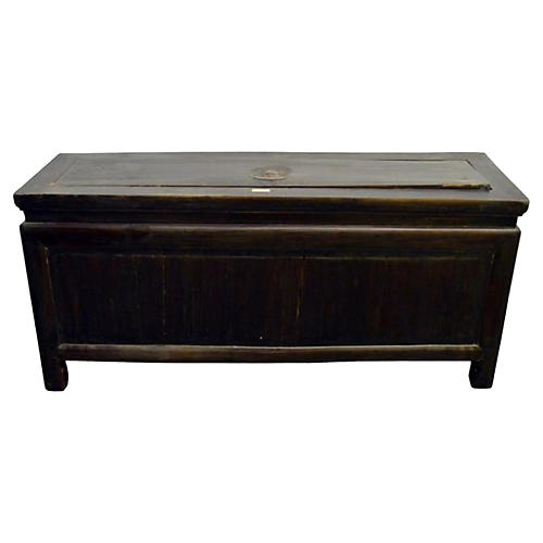 Antique Chinese Brown Lacquered Trunk