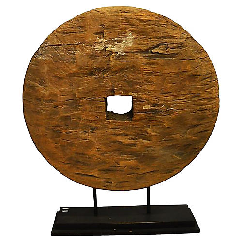 Antique Thai Wooden Cart Wheel