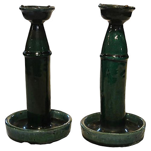 Antique Chinese Hunan Candleholders, S/2