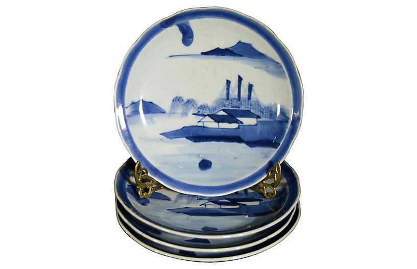 Antique Blue & White Plates, S/4