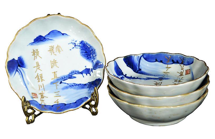 Antique Japanese Imari Bowls, S/4