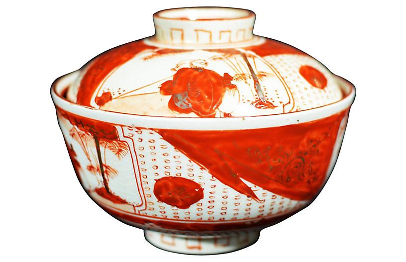 Antique Japanese Arita Iron Red Bowl