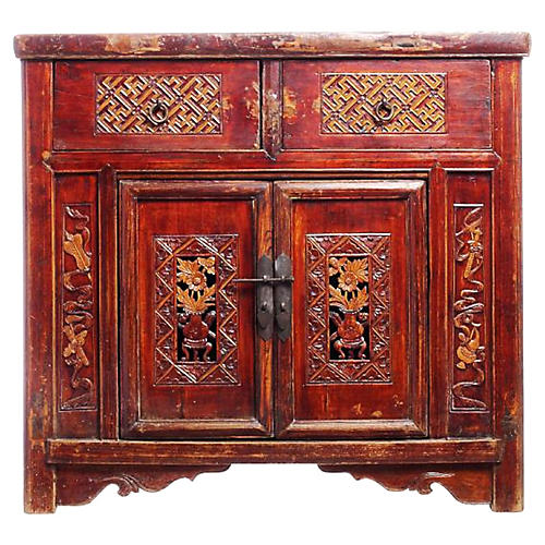 Antique Hand-Carved Lacquer Cabinet